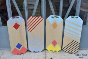 Bandejas de madera pintada